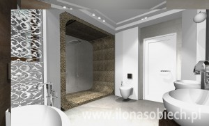 Projekt łazienki w nowoczesnym stylu.