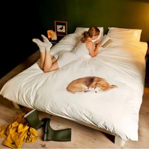 Pościel Bob z nadrukiem śpiącego, uroczego psa. Bob - pies holenderskiej pary projektantów , dzielnie wytrzymał sesję zdjęciową.  Fot.Snurk.