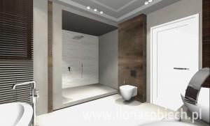 Szara łazienka z brązowymi akcentami.