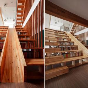 Niezwykła biblioteke zamontowana w schodach i jeszcze bardziej niezwykła zjeżdżalnia w domu projektu studia Moon Hoon z Seulu. Fot. Moon Hoon.