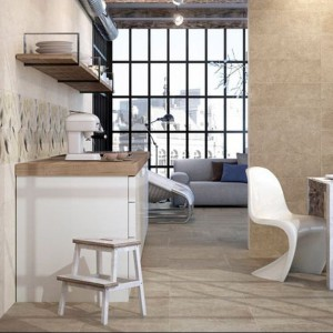 Płytki ceramiczne z kolekcji Ambiente (sera 2208) w kolorze kremowym, o fakturze matowej, które doskonale nadają się stworzenia w kuchni ciepłej, domowej atmosfery kuchni. PorcelaniteDos.