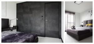 Na jednej ścianie w sypialni położona została tapeta przypominająca strukturę końskiego włosia. Mimo ciemnoszarej tonacji pięknie ociepla to męskie wnętrze.