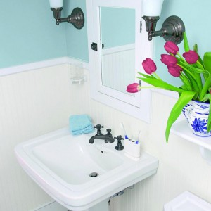 Błękity idealnie pasują do salonu kąpielowego, farby Para.