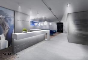 Koncepcja foyer, recepcji, sali konferencyjnej.