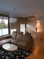 W salonie zawisły lampy -  w połączeniu ze skórzanymi meblami oraz lakierowanym kompletem stołowym nadały wnętrzu nowoczesny a zarazem przytulny charakter. Ponieważ okna wychodzą na południe jako zabezpieczenie przed słońcem zastosowane zostały specjalne rolety zacieniające.