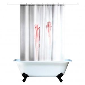 Blood Bath - zasłonka prysznicowa imitująca ślady krwi. Gadżet rodem z filmu Psychoza. Fot. Amazon.
