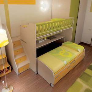 Dolne łóżko ma wmontowane kółeczka, co ułatwia wysuwanie. Fot. Moretti Compact.