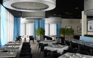 Wizualizacje restauracji hotelowej.
