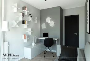 Elegancka forma domowego gabinetu w szarej tonacji.