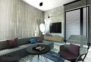 Nowoczesny i elegancki salon z kontrastem.