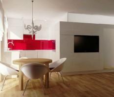 Salon z aneksem kuchennym w stylu glamour.