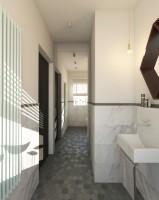 Łazienka inspirowana latami 50-tymi z domieszką stylu eklektycznego.