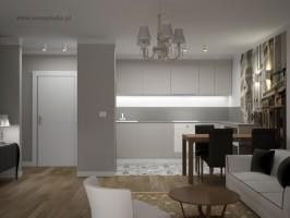 Salon z aneksem kuchennym w stylu eklektycznym.