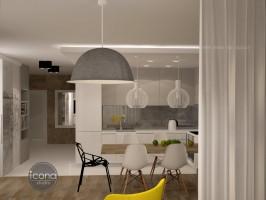Wnętrza wymagały doświetlenia i optycznego powiększenia. Poprzez dobranie odpowiednich materiałów, mebli i elementów graficznych i skomponowanie ich w jedną atrakcyjną całość udało się uzyskać zamierzony efekt. 100 % funkcjonalności w estetycznej ładnej oprawie, to jest to na czym nam zależy projektując mieszkanie.