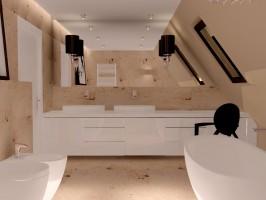 Łazienka w trawertynie.