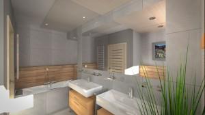 Nowoczesna, mała łazienka z dwiema umywalkami.