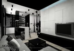 Minimalizm w czerni i bieli - salon.