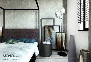 Nowoczesna stylizowana sypialnia z akcentem.