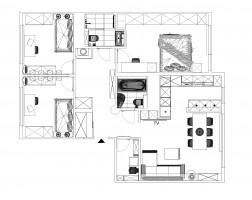 Mieszkanie w bloku z tzw wielkiej płyty, które powstało z połączenia dwóch mniejszych.