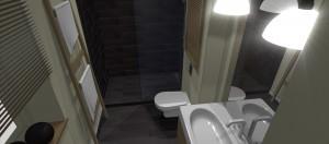 Łazienka przy sypialni w Retpach Śląskich.