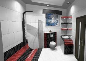 Jasna łazienka z czerwienią.
