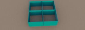 Projekt szafki i półki z barwionego szkła.