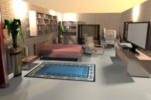 Projekty wnętrz komercyjnych - pokój hotelowy.