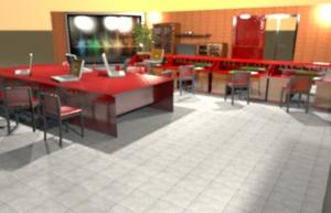 Projekt wnętrza biurowego.
