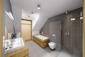 Łazienka - szarość i drewno.