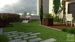 Donice za stali kortenowej oraz trawnik na tarasie.