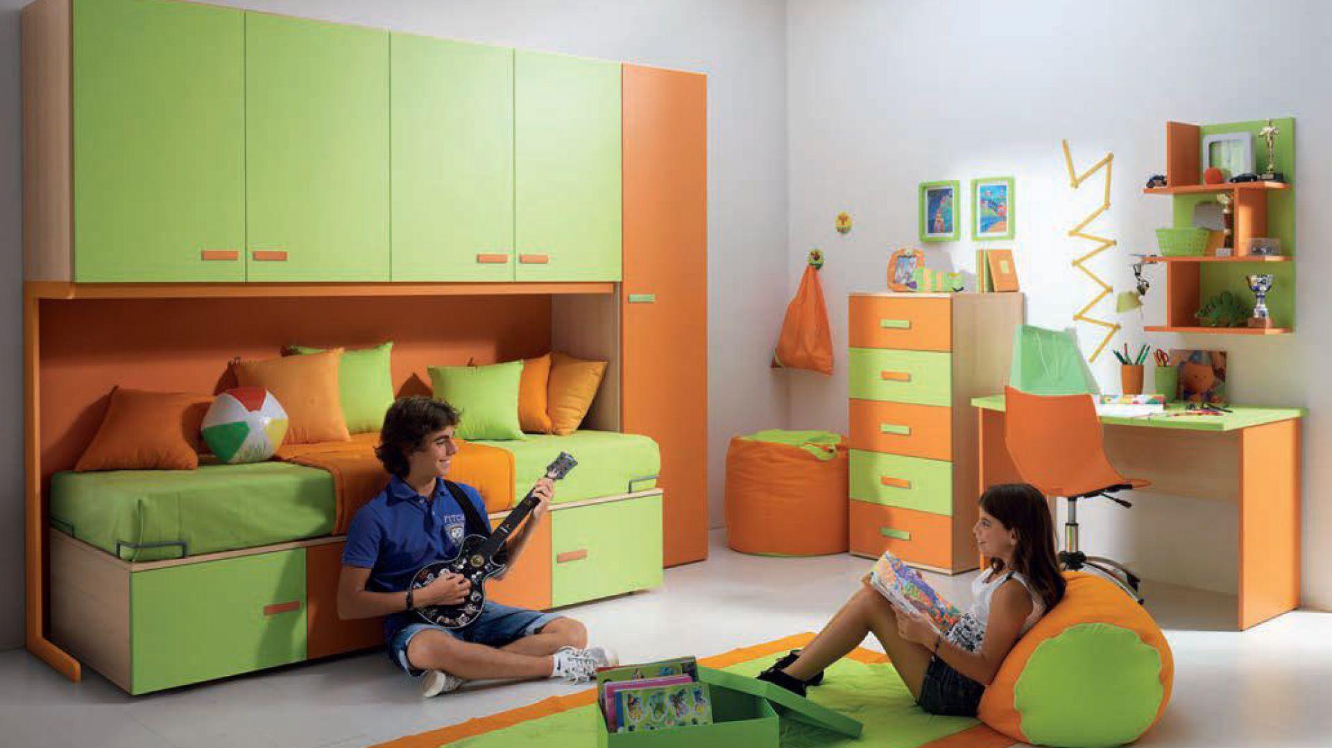 Kontrast idealny: energetyzujący pomarańcz i relaksująca zieleń. Kolekcja Diaro. Fot. Battistella.