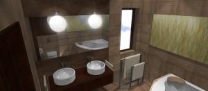 Suszone trawy w podświetlanym szkle oraz mahoniowe drewno dopełnia spokojną, stonowaną przestrzeń łazienki . Przestrzeń stworzona do odpoczynku.