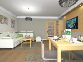 Projekt jasnego salonu (22m2) z kącikiem jadalnianym.