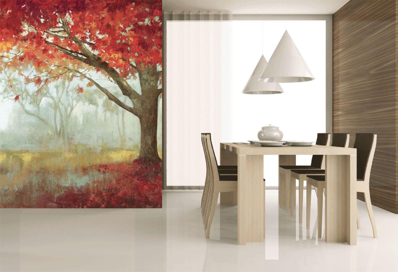Piękna inspirowana jesienią ściana z fototapetą z kolekcji Evolution6 marki Atlas. Fot. Atlas/JVD.