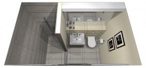 Minimalistyczna, elegancka łazienka w beżach i szarości.