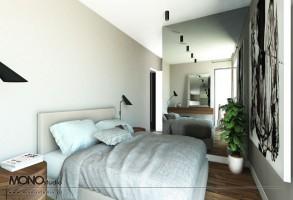 Stylizowana sypialnia z wykorzystaniem surowych materiałów.