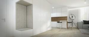 Mieszkanie Gdańsk - salon otwarty na kuchnię.