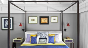 Szare odcienie pomogą stworzyć nam stonowaną, harmonijną sypialnię. Wnętrze możemy dowolnie urozmaicać kolorowymi tkaninami i dodatkami, dla których szare kolory stanowią znakomite tło.