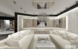 Projekt wnętrz salonu.