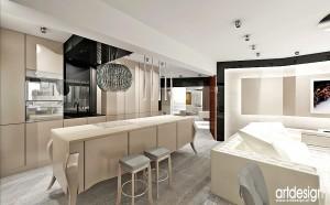 Salon z kuchnią - projektowanie.