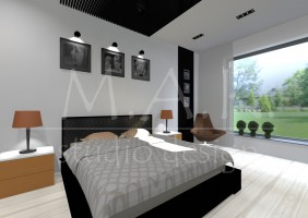 Projekt domu jednorodzinnego we Wrocławiu - sypialnia.