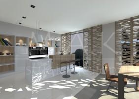 Projekt domu jednorodzinnego we Wrocławiu - kuchnia , salon.
