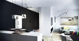 Projekt nowoczesnego mieszkania - pokój dzienny połączony z kuchnią.