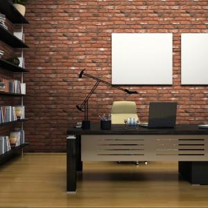 Płaszczyzna z cegły może oznaczać w salonie np. miejsce do pracy. Fot. Stone Master.