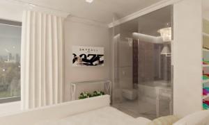Sypialnia z łazienką - apartament w bieli.