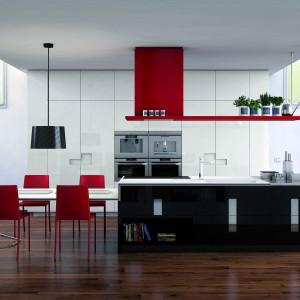 Elegancka kuchnia z kolekcji Carré. Biało-czarną kolorystykę mebli ożywiają dodatki w czerwonym kolorze. Wprowadzają do wnętrza dawkę pozytywnej energii. Dostępna jest w wielu kolorach i różnych zestawianiach. Wycena indywidualna, Ernestomeda.