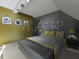 Projekt koncepcyjny sypialni - Góra Siewierska.