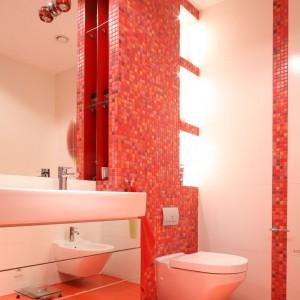 Lustrzana szafka pod umywalką doskonale powiększa optycznie wnętrze.  Fot. Bartosz Jarosz.
