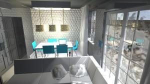 Salon ze ścianą z cegły.