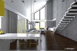 Projekt wnętrz oraz oświetlenia idealnie harmonizuje z architekturą domu wydobywając z niej wszystkie atuty. Każdy detal dopasowany do gustu i potrzeb inwestora - meble indywidualnie projektowane dla zastanej przestrzeni zapewniają niepowtarzalny charakter.